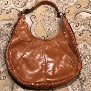 Leather cognac shoulder bag by Bloomingdales